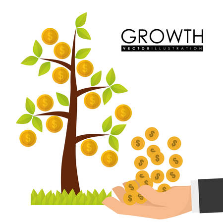 money icons: Financial Growth concept and money  icons design, vector illustration graphic.