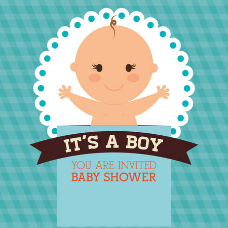 stamp design: Baby Shower concept with decoration icons, vector illustration  graphic.