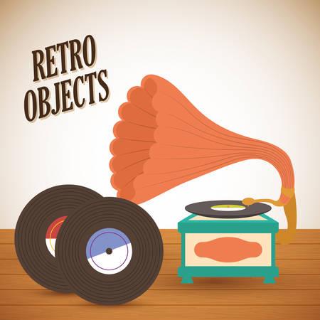 Objetos retro y diseño de medios vintage, ilustración vectorial Ilustración de vector
