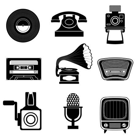 vintage objects: Retro objects and vintage media design, vector illustration