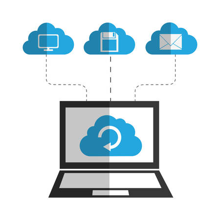 cloud computer: Cloud computing and hosting design with multimedia icons, vector illustration. Illustration