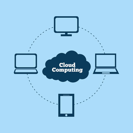 multimedia icons: Cloud computing and hosting design with multimedia icons, vector illustration. Illustration