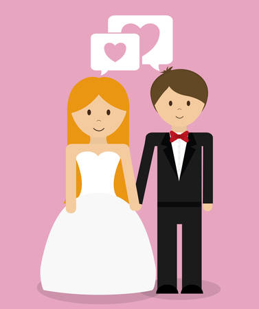pink wedding: Relationship, wedding and love  celebration graphic design, vector illustration