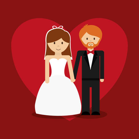 happy couple: Relationship, wedding and love  celebration graphic design, vector illustration