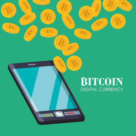 retail display: Bitcoin concept and technology icons design, vector illustration 10 eps graphic.