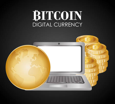 technology transaction: Bitcoin concept and technology icons design, vector illustration 10 eps graphic.
