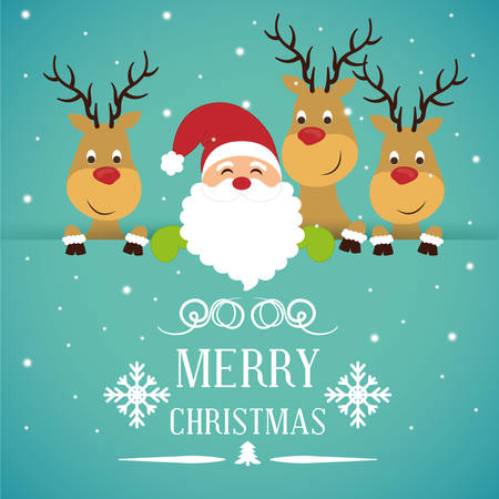 Merry christmas colorful card design, vector illustration