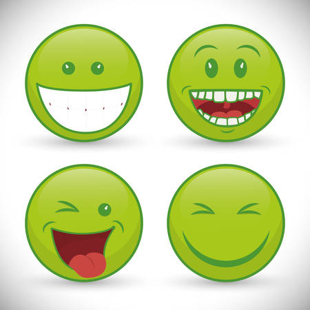 green face: Funny cartoon face design, vector illustration eps 10.