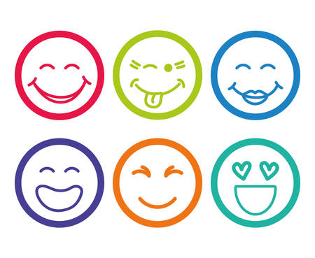 happy people faces: Funny cartoon face design, vector illustration eps 10.