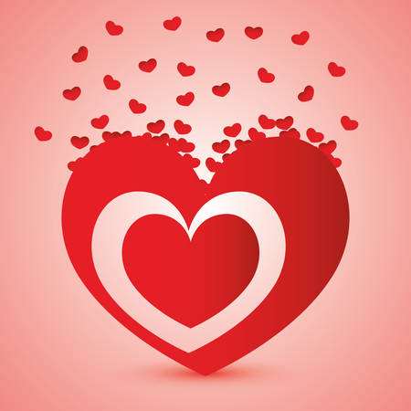 romantic: Romantic love design with red hearts, vector illustration eps 10.