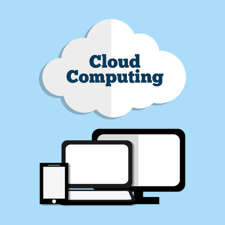 hosting cloud: Cloud computing and hosting graphic design, vector illustration.