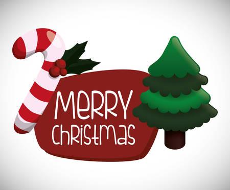 albero pino: Merry Christmas concept with pine tree design, vector illustration 10 eps graphic. Vettoriali