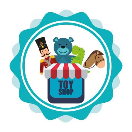 toy shop: Toy shop concept e le icone di infanzia design, illustrazione vettoriale 10 eps grafica. Vettoriali