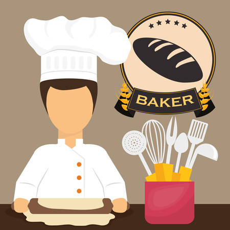 preparation: Bakery concept and bread design, vector illustration 10 eps graphic.