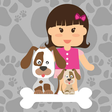 trusting: Pets Love concept about  dog and her master, vector illustration 10 eps graphic.