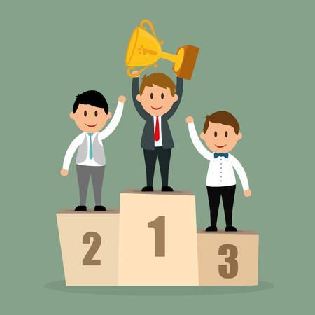 liderazgo empresarial: Concepto de éxito, diseño de dibujos animados empresario de negocios, ilustración vectorial