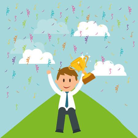 successfull: Success concept, Business entrepreneur cartoon design, vector illustration Illustration