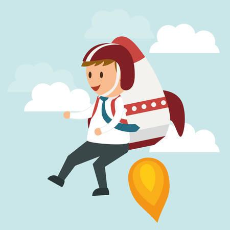 jetpack: Success concept, Business entrepreneur cartoon design, vector illustration Illustration