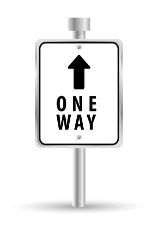 one way: One way road sign advertising design, vector illustration eps 10 Illustration