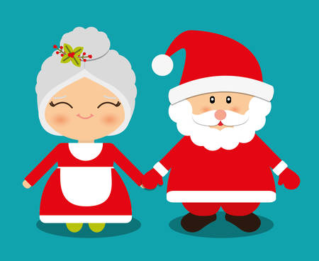 santa claus hats: Merry christmas card and icons design, vector illustration.