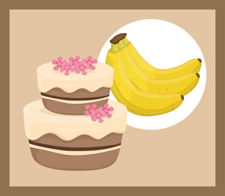 banana bread: Cake concept and menu icons design, vector illustration  graphic.