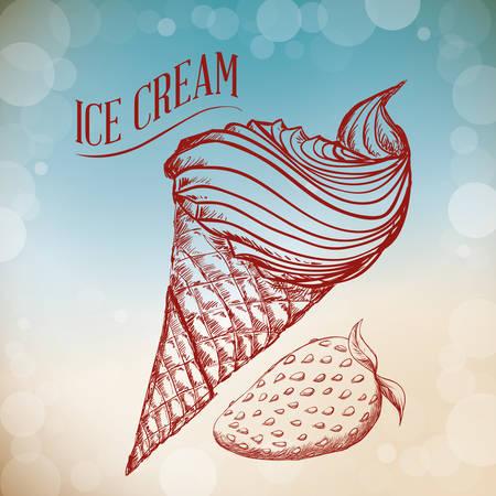 ice cream design: Dessert concept  about sweet ice cream design, vector illustration graphic. Illustration