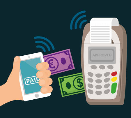 technology transaction: Electronic payment and technology design, vector illustration eps10