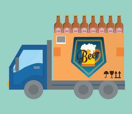 transport truck: Beer industry concept  and delivery icons design, vector illustration 10 eps graphic.