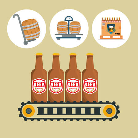 beer bottle: Beer industry concept  and delivery icons design, vector illustration 10 eps graphic.