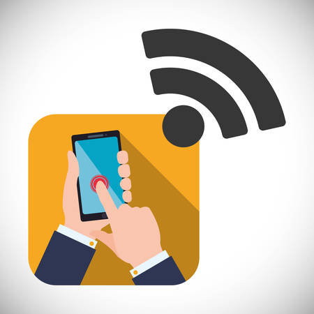 hands free device: Wifi concept with technology icon design, vector illustration 10 eps graphic. Illustration