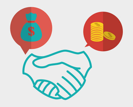 bussines people: hand shake concept with business icon design, vector illustration 10 eps graphic. Illustration