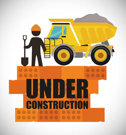 truck road: Under construction concept with tools design, vector illustration 10 eps graphic.