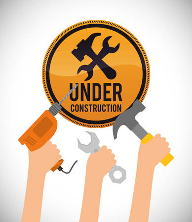 in the reconstruction: Under construction concept with tools design, vector illustration 10 eps graphic.