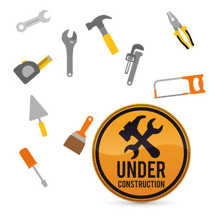 warning saw: Under construction concept with tools design, vector illustration 10 eps graphic.
