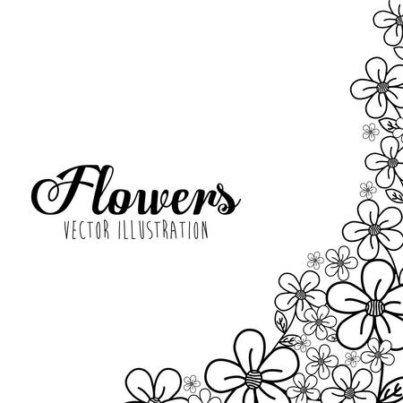 black and white flowers: Black and white decorative floral design, vector illustration