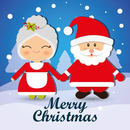 사랑스러운 만화 그래픽 디자인, 벡터 일러스트와 함께 메리 크리스마스.