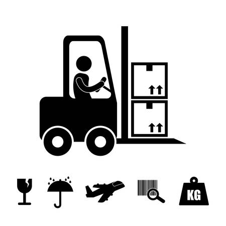 aircraft carrier: Logistics and delivery icons, vector illustration graphic .
