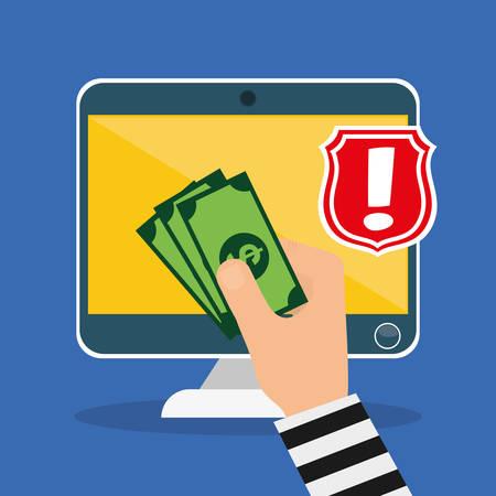 Digital fraud and hacking design, vector illustration. Vettoriali