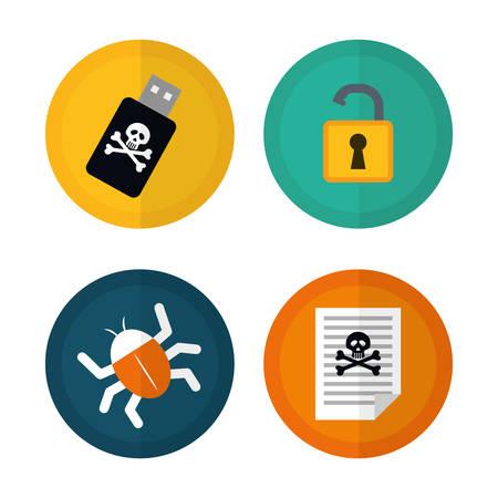 Digital fraud and hacking design, vector illustration. Illustration