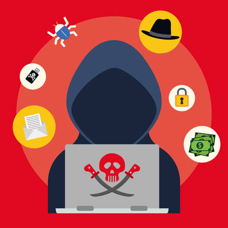 Digital fraud and hacking design, vector illustration. Stok Fotoğraf - 46202959