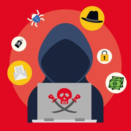 Digital fraud and hacking design, vector illustration. Vectores