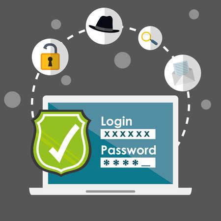 La fraude et la conception numérique de piratage, illustration vectorielle. Banque d'images - 46202962
