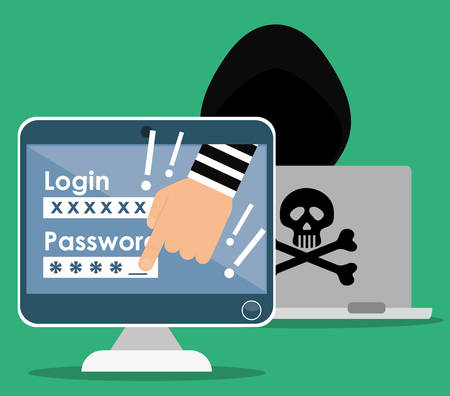 Digital fraud and hacking design, vector illustration. Ilustrace