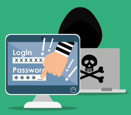 La fraude et la conception numérique de piratage, illustration vectorielle. Banque d'images - 46202965