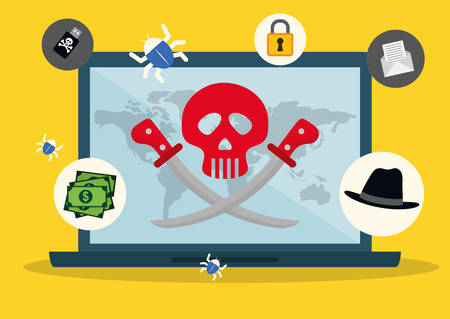 hacking: Digital fraud and hacking design, vector illustration. Illustration