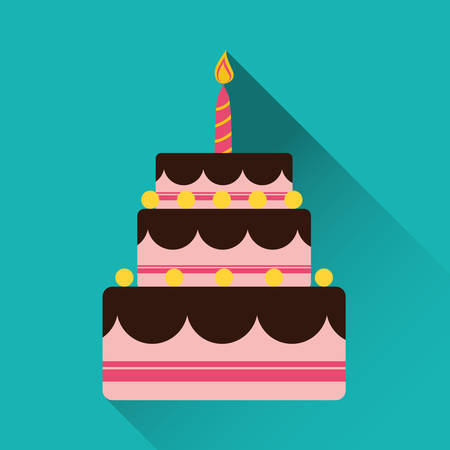 dinner party: Birthday cake and desserts icon design, vector illustration.