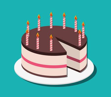 pastel cumpleaños: Torta de cumpleaños y postres diseño de iconos, ilustración vectorial.