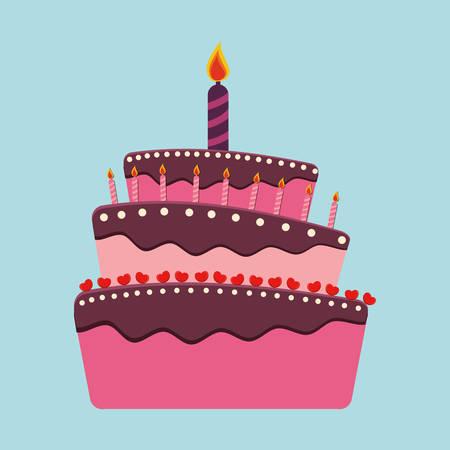 torta de cumpleaños: Torta de cumpleaños y postres diseño de iconos, ilustración vectorial.