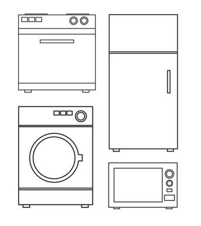 limpieza del hogar: Tecnolog�a electrodom�sticos de dise�o, ilustraci�n vectorial gr�fico. Vectores