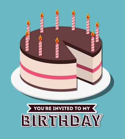 you are invited: Birthday cake and desserts design, vector illustration graphic